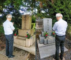 創業者の墓参の様子