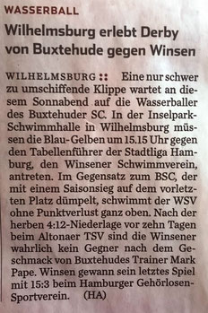 Wasserball/Wilhelmsburg erlebt Derby von Buxtehude und Winsen