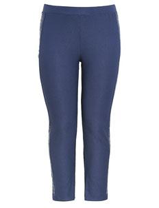 Damen Stretch-Hose dunkelblau mit Strassband  XXXL blau Gr 48