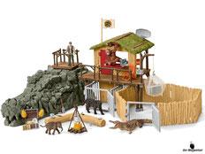Im Paket Schleich 42350 Dschungel Forschungsstation sind 122 Einzelteile, ein Dschungel Foschungshaus, ein Grosser Croco Schädel mit Geheimversteck, eine Spielfigur Ranger Tom, eine Spielfigur Tierärztin Mary, ein Orang-Utan, ein Krokodil, ein Elefantenba