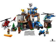 Im Paket Lego 60174 Hauptquartier der Bergpolizei sind 663 Einzelteile, ein Hauptquartier, ein Polizeihubschrauber, ein Ganovenhubschrauber, ein Motocross-Motorrad, ein Polizeichef, ein Pilot, zwei Polizisten, drei Ganoven mit viel Zubehör enthalten.