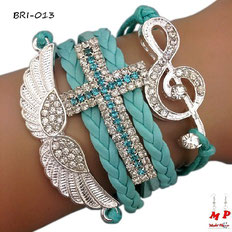 Bracelet vert turquoise symnoles aile, croix et note de musique