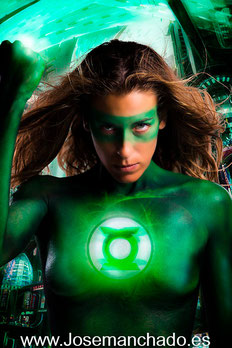 green latern bodypaint, linterna verde bodypaint, fotografo cosplay. fotografo cosplay madrid, book cosplay, greent latern hot, green latern sexy