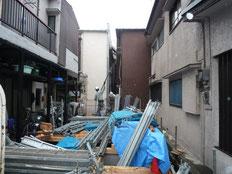 台東区 木造3階建て耐火建築物 外部足場工事画像1