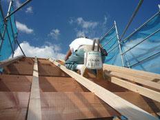 無垢の木でつくる 台東区 木造3階建て耐火建築物 屋根垂木工事画像1