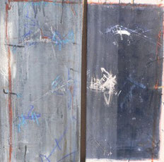 """""""Blue-Grew"""" Diptychon, Mischtechnik auf Leinwand, 40 x 80 x 2 cm, 2006"""