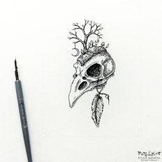Kitsch, paradise, artisan, créateur, art, dessin, nature, oiseau, crane, encre de chine