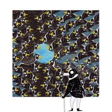 quadro pinguini dal titolo luna