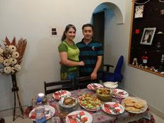 Avec des amis iranien de Mysore. Repas veg sans le vouloir