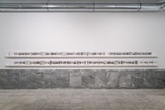 Ulrich Wüst, Flachland, 2013, leporello of 179 black-and-white photographs, mounted on cardboard, installation view, Athens Conservatoire (Odeion), Athens, documenta 14, photo: Mathias Völzke