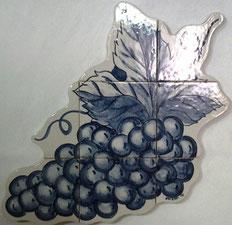 "Art.-Nr.: PN-171 ""Weintrauben in Blau"", Masse: 42cm x42cm"