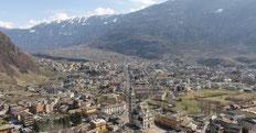 Città di Tirano dall'alto