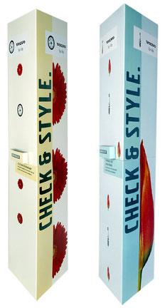 Ellipsensäule Faltsäule aus Pappe Pappsäule Werbesäule POS Säule Pappaufsteller Säulendisplay Dreiecksäule mit Dispenser