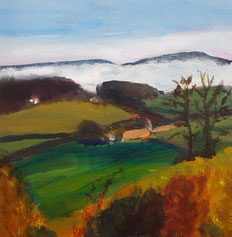 """Autumn Mist"" 20.5 x 20.5cm acrylic on cradled board. AM01a."
