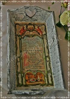 Shabby Chic Tablett mit Hochzeitsmenü