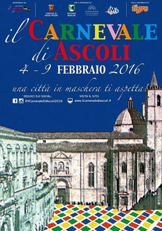 Locandina ufficiale dell'edizione 2016 del Carnevale storico di Ascoli Piceno.