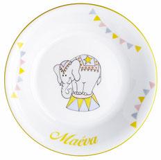 asiette porcelaine éléphant