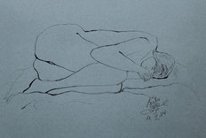 """Resting"" Ink drawing on Ingrés paper (March 19, 1984)"