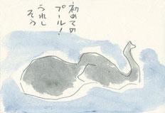 水浴びするゾウ