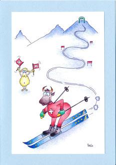 lustige Grusskarte Kuh auf Ski