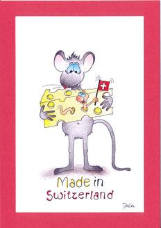 lustige Grusskarte Maus mit Käse