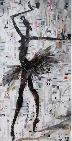 """Dehtiar Svetlana, """"Ballerina"""", Collage, 49 x 100 cm, 2012, gerahmt"""