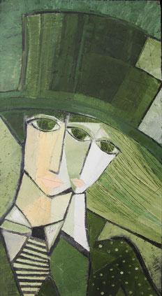 "Tarasenko Anna, ""Grüne Zylinder"", Öl auf Leinwand,  100  x 50 cm, 2011, gerahmt"