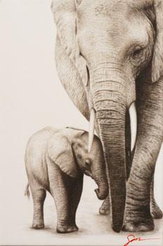 Elefanten Kunst Bilder mit Kohle schwarz weiss