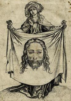 (Bild 12) Martin Schongauer, Die Heilige Veronika hält das Sudarium, um 1470-1482, Holzschnitt, Nr. 1862,1011.203, British Museum / London