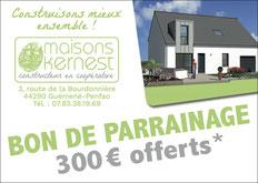 bon de parrain de 300 euros offerts pour toute recommandation conclue par une construction avec Maisons Kernest