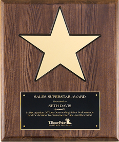 "Gold aluminum star (8"") on 12"" x 15"" walnut stained piano-finish board with black recessed area."