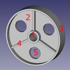 Aufteilung der Riemenscheibe in Teilkörper zur Berechnung des Massenträgheitsmoments
