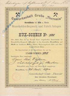 Kux der Gewerkschaft Grube Theresia aus Hermülheim (jetzt Hürth)