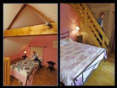 Chambre 4 places un accès intérieur et un extérieur par escalier en granit, un lit 160 X 200 avec chevet, une mezzanine avec 2 lits 90 X 190, chevets et rangement.