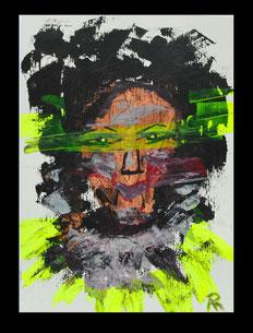 Bild  Dekonstruktion/ Black light 2020  Stoffmalfarbe auf Papier  17 x 24 cm