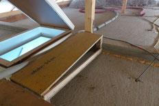 Vorbereitung für offen aufgeblasene Deckendämmung, Steg und Treppenverkleidung