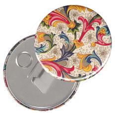 Flaschenöffner  Flaschenöffner-Rückseite mit Neodym-Magnet  59 mm  Florentiner Papier Ornamente bunt gold