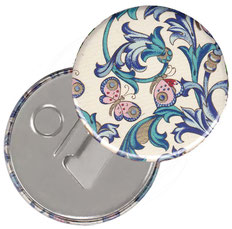 Flaschenöffner  Flaschenöffner-Rückseite mit Neodym-Magnet,59 mm Durchmesser, Florentiner Papier Ornamente Schmetterlinge
