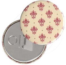 Flaschenöffner  Flaschenöffner-Rückseite mit Neodym-Magnet  59 mm ,Blumenkrönchen rot  mit Golddruck