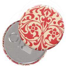 Flaschenöffner  Flaschenöffner-Rückseite mit Neodym-Magnet  59 mm  ,Carta Varese Papier,Ornamente rot