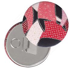 Flaschenöffner  Flaschenöffner-Rückseite mit Neodym-Magnet  59 mm  ,Sichelmuster rot rosa auf schwarz