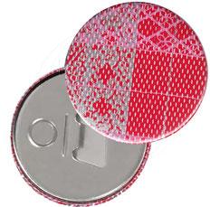 Flaschenöffner  Flaschenöffner-Rückseite mit Neodym-Magnet  59 mm  ,Streifen rot rosa silber