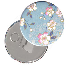 Flaschenöffner  Flaschenöffner-Rückseite mit Neodym-Magnet  59 mm  ,Kirschblüten hellblau rosa