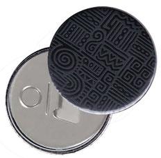Flaschenöffner  Flaschenöffner-Rückseite mit Neodym-Magnet  59 mm  , Azteka  schwarz grau