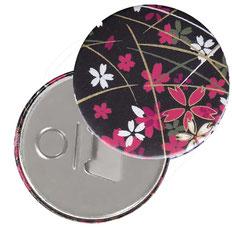 Flaschenöffner  Flaschenöffner-Rückseite mit Neodym-Magnet  59 mm  ,Blumenfeld pink weiß