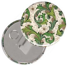 Flaschenöffner  Flaschenöffner-Rückseite mit Neodym-Magnet  59 mm  Florentiner Papier Ornamente grün  gold