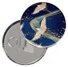 Flaschenöffner  Flaschenöffner-Rückseite mit Neodym-Magnet  59 mm  , Kraniche blau gold