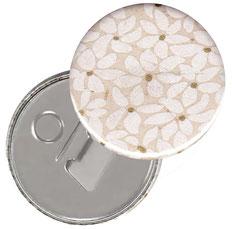 Flaschenöffner  Flaschenöffner-Rückseite mit Neodym-Magnet  59 mm  , Blätter Blüten weiß gold