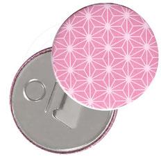 Flaschenöffner  Flaschenöffner-Rückseite mit Neodym-Magnet  59 mm  ,Sterne rosa auf weiß