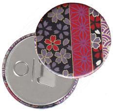 Flaschenöffner  Flaschenöffner-Rückseite mit Neodym-Magnet  59 mm  , Chiyogami Yuzen Papier,Streifenmuster Blümchen auf schwarz